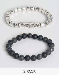 Icon Brand Beaded Bracelets In 2 Pack Black Silver