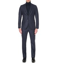 Richard James Slim Fit Birdseye Pattern Wool Suit Blue