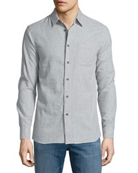 Rag And Bone Beach Striped Long Sleeve Sport Shirt Gray Grey Stripe