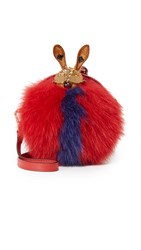 Mcm Fur Tambourine Bag Ruby Red Navy
