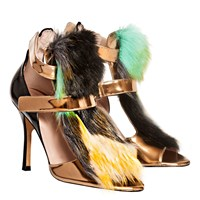 De Siena Ayla Velcro Strap Multicolor Fake Fur Sandals