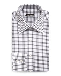 Tom Ford Windowpane Pattern Silk Dress Shirt Black White