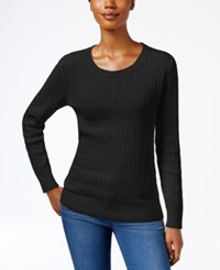 Karen Scott Crew Neck Cable Knit Sweater Only At Macy's Deep Black