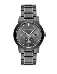 Burberry Check Stamped Stainless Steel Watch Grey