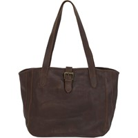 Fat Face Small Shaped Oiled Buckle Tote Bag Chocolate