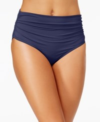 Anne Cole Convertible Shirred Bikini Bottoms Women's Swimsuit Navy