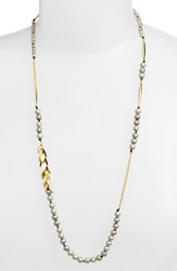 Alexis Bittar Metal Fringe Faux Pearl Long Necklace Gold