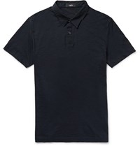 Theory Dennison Slub Cotton Jersey Polo Shirt Blue