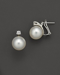 Bloomingdale's White South Sea Pearl Stud Earrings With Diamonds 10Mm No Color