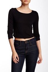 Lanston Cropped Boatneck Long Sleeve Tee Black
