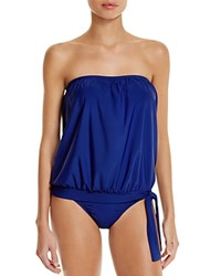 Athena Heavenly Solid Bandeau Tankini Top Navy