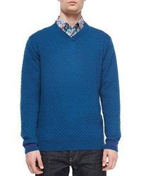 Robert Graham Bagley Textured V Neck Sweater Teal