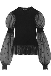 Alexander Mcqueen Embroidered Smocked Silk Blend Tulle Blouse Black