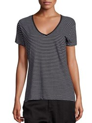 Vince Cotton Striped Tee Heather Black White