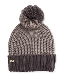 Cole Haan Colorblock Pompom Hat Ironstone