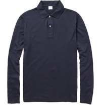 Sunspel Long Sleeved Cotton Jersey Polo Shirt Blue