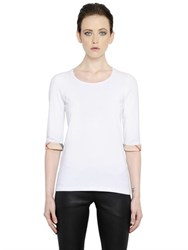 Burberry Cotton Jersey T Shirt With Checked Trim