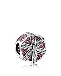 Pandora Design Charm Sterling Silver And Cubic Zirconia Red Shimmering