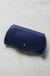 Anthropologie Pebbled Leather Clutch Blue