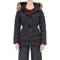 Moncler Women's Fur Trimmed Down Quilted Clio Coat Black