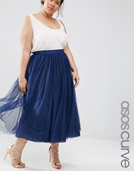 Asos Curve Tulle Prom Skirt With Multi Layers Navy