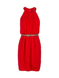 Morgan Belted Dress Red