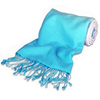 Forzieri Shaded Indian Ocean Pashmina And Silk Shawl Light Blue