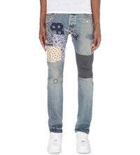 Not Applicable Selvedge 1960S Patchwork Straight Mid Rise Jeans Blue
