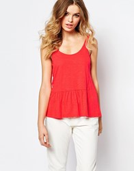 Baandsh Ruffle Tago Tank Top With Deep V Back Red