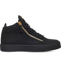 Giuseppe Zanotti Kriss Matte Crocodile Effect Leather Trainers Black