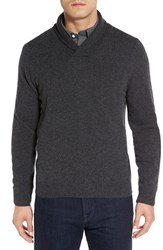 Nordstrom Men's Big And Tall Men's Shop Shawl Collar Cashmere Pullover Grey Dark Charcoal Heather