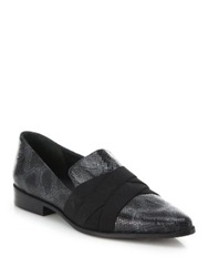 Stuart Weitzman Xenon Crisscross Snakeskin Embossed Leather Loafers Charcoal