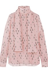 Valentino Printed Silk Crepe De Chine Blouse Pastel Pink
