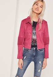 Missguided Petite Exclusive Faux Suede Biker Jacket Pink Pink
