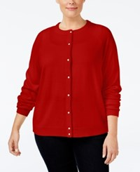 Karen Scott Plus Size Cardigan Only At Macy's Red Cherry