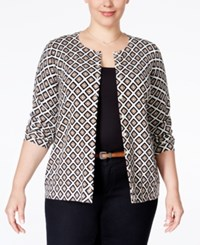 Charter Club Plus Size Printed Cardigan Only At Macy's Vanilla Bean Combo