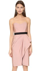 J. Mendel Bustier Dress With Draped Wrap Skirt Sugar Pink