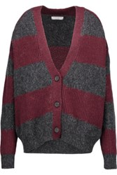 Iro Stuart Oversized Striped Ribbed Knit Cardigan Burgundy