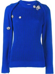 Preen By Thornton Bregazzi Embellished Ribbed Jumper Blue