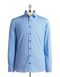 Pure Slim Fit Mini Geo Print Sportshirt Blue