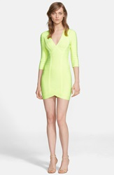 Herve Leger Long Sleeve V Neck Bandage Dress Neon Yellow