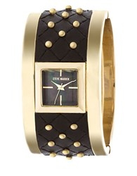 Steve Madden Studded Quilted Leather Bangle Watch Black