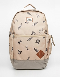 Doren Backpack With Allover Print Beige