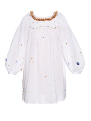 Thierry Colson Poppy Garden Embroidered Cotton Dress White Multi