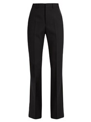 Saint Laurent High Rise Wool Crepe Tuxedo Trousers Black