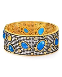 Freida Rothman Blue Agate Embellished Bangle Blue Gold
