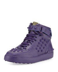 Valentino Rockstud Leather High Top Sneaker Purple
