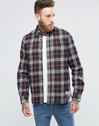 Penfield Harmon Check Button Shirt Brushed Cotton Grey