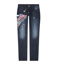 Philipp Plein Bombs Over It Straight Cut Eagle Print Jeans Male Blue