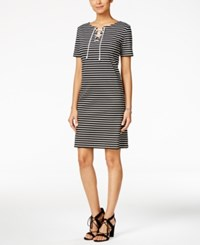 Nine West Striped Lace Up Ponte Dress Black White